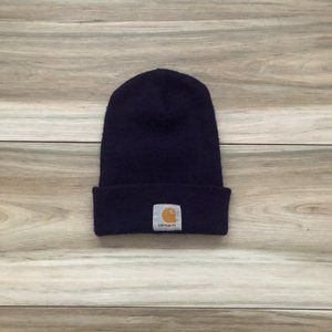 Carhartt Cap Dark Purple Big Logo Beanie Hat